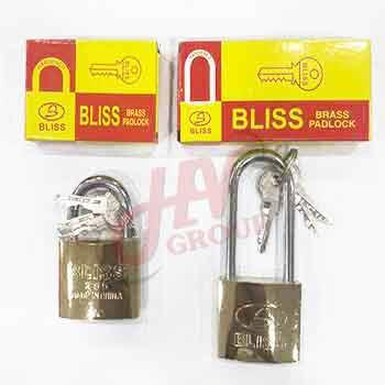 แม่กุญแจล็อคพร้อมลูกยี่ห้อ Bliss ระบบสปริง รุ่น 50 mm.