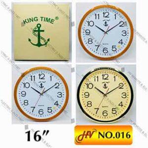 นาฬิกาแขวนผนัง 16 นิ้ว ตราสมอ King Time ของแท้ หน้าปัดใหญ่ รุ่น 016