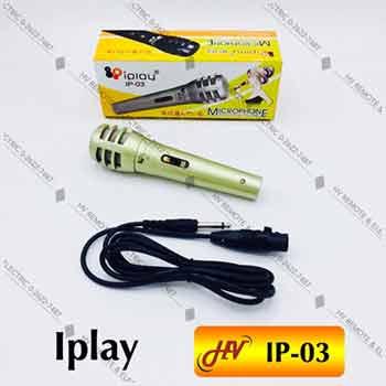 ไมค์สายไดนามิกยี่ห้อ Iplay รุ่น IP-03 สีเงิน